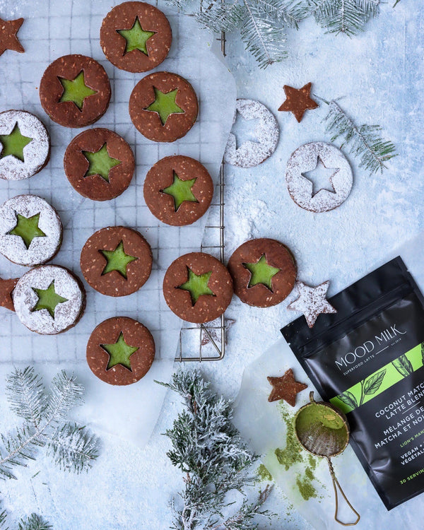 Superfood Chocolate Linzer Cookies with Mint Matcha Cream