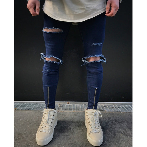 Ripped Knee Dark Denim Jeans with Front Zip Detail