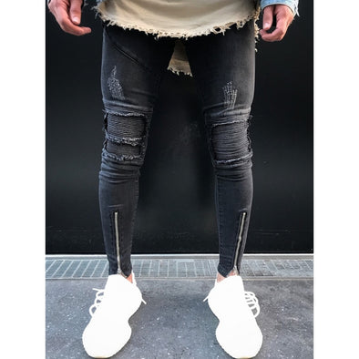 Distressed Biker-Knee Black Jeans with Front Zip Detail