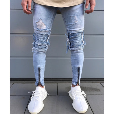 Distressed Biker-Knee Light Wash Jeans with Front Zip Detail