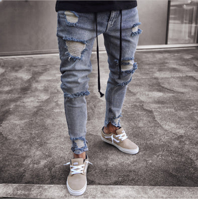 Acid Wash Distressed Denim Jeans with Drawstring