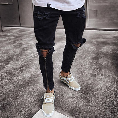 Distressed Black Jeans with Knee Hole Zip Detail