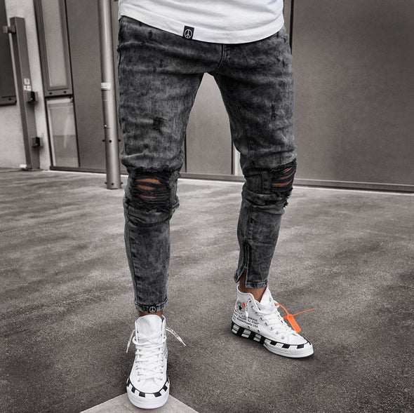 Acid Wash Black Jeans with Distressed Knee Detail
