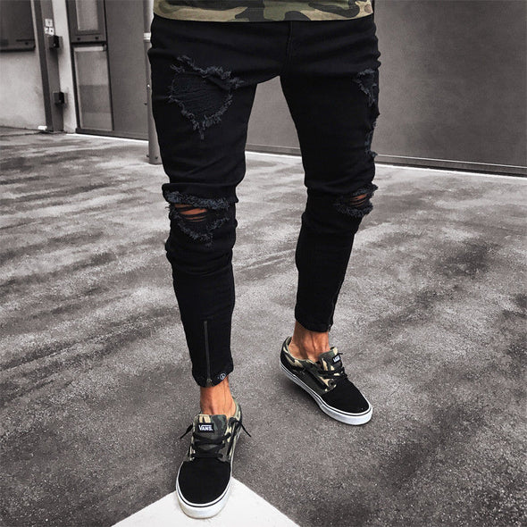 Distressed Ripped Jeans in Black with Zip Detail
