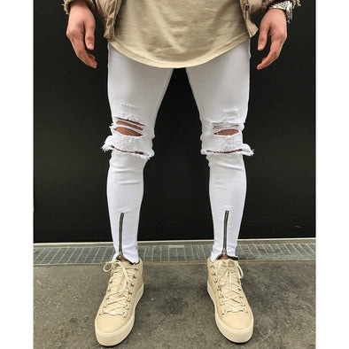 Ripped Knee White Jeans with Front Zip Detail