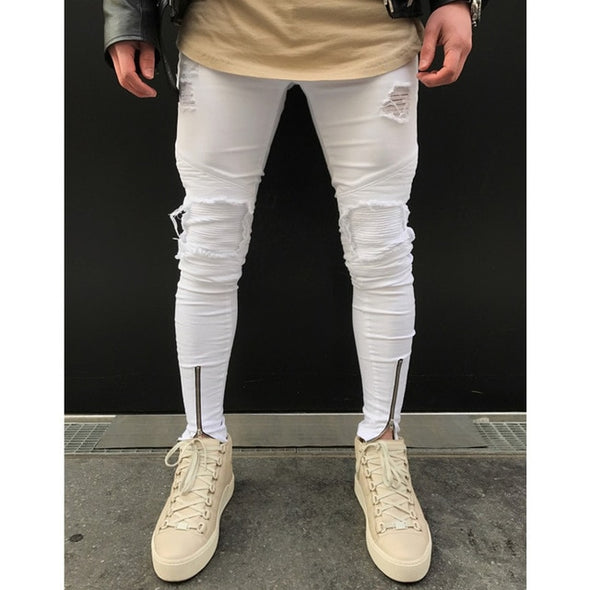 Distressed Biker-Knee White Jeans with Front Zip Detail