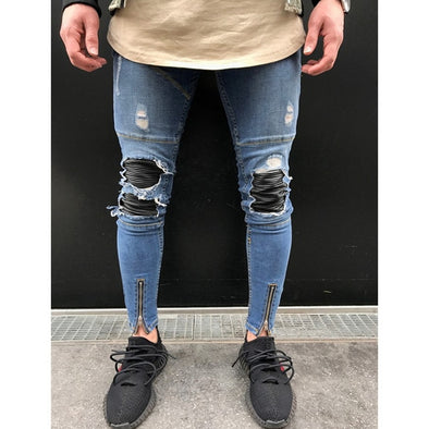 Contrast Biker-Knee Distressed Jeans with Front Zip