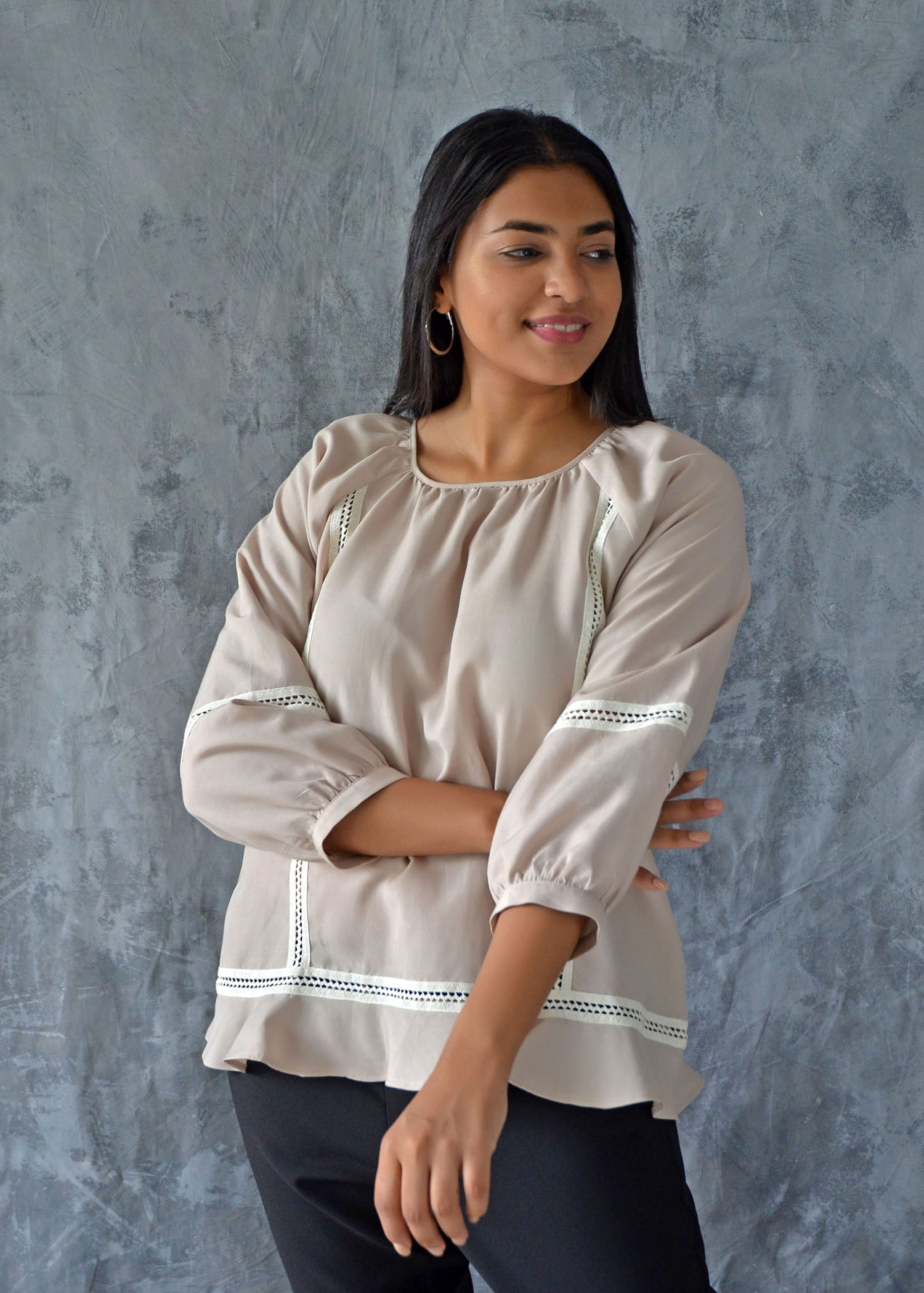 Raglan Sleeve Top With Lace Detail