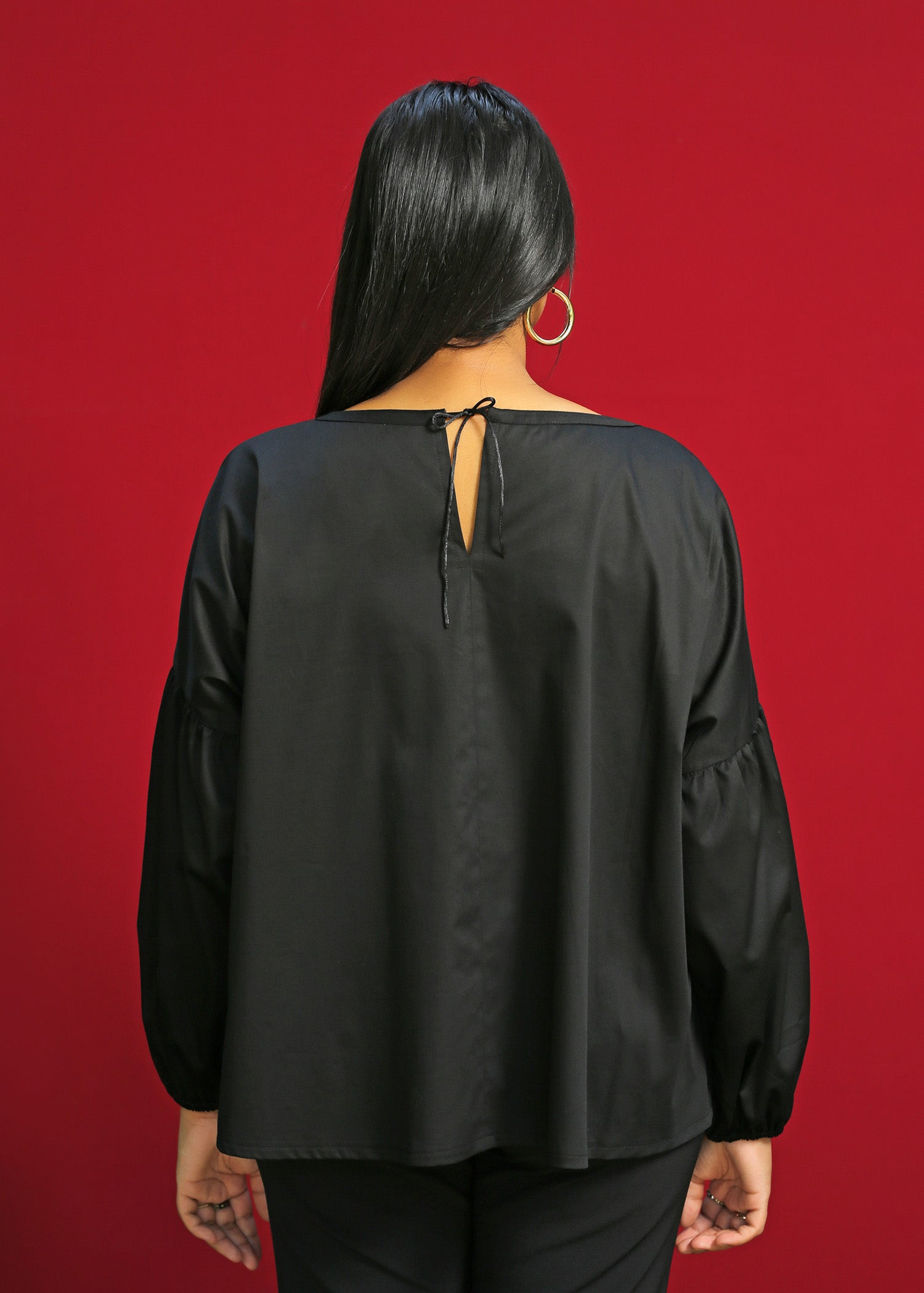 Adjustable Neckline  top with dropped shoulder sleeves