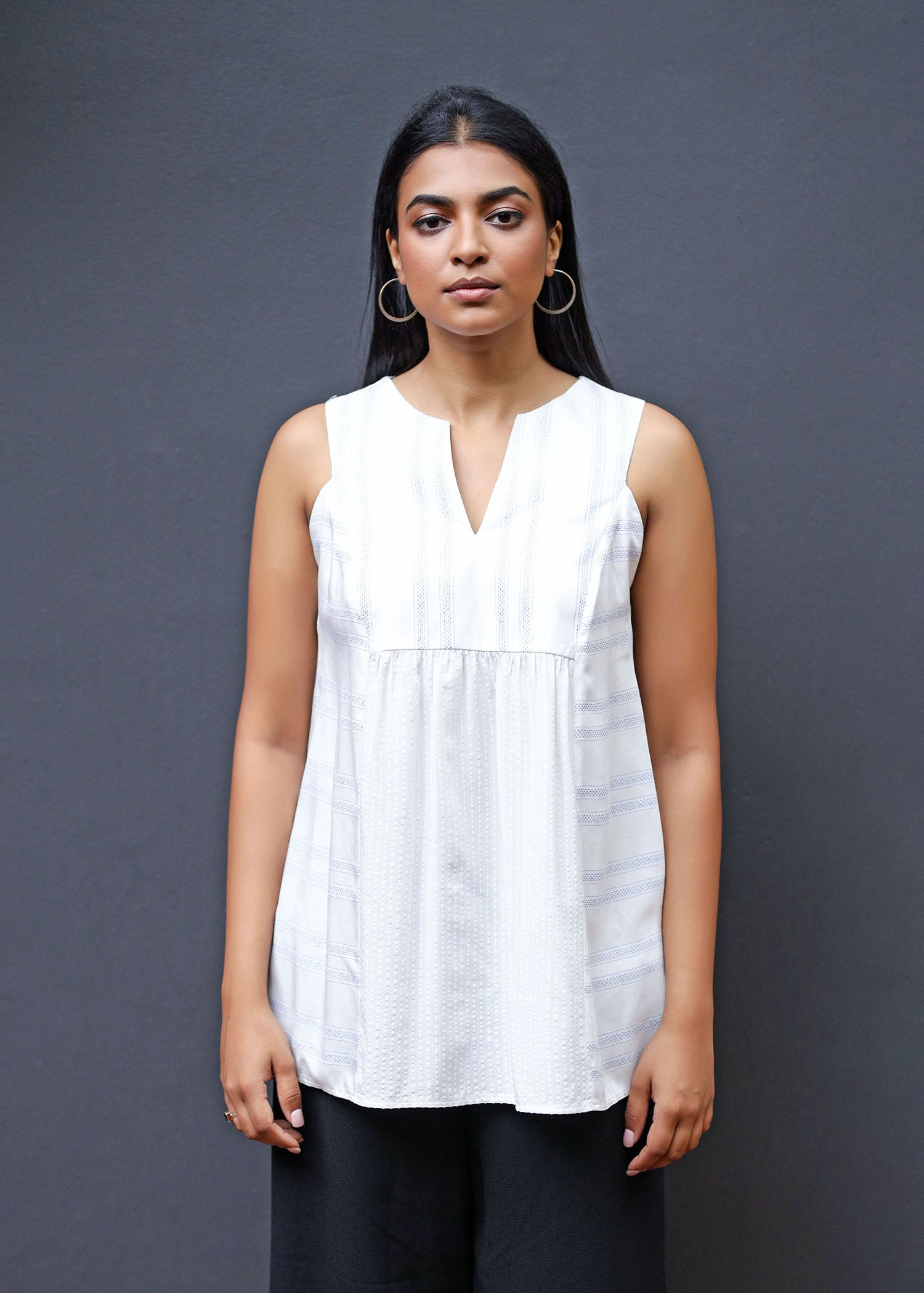 Paneled Sleeveless Top With Front & Back Waist Gathering