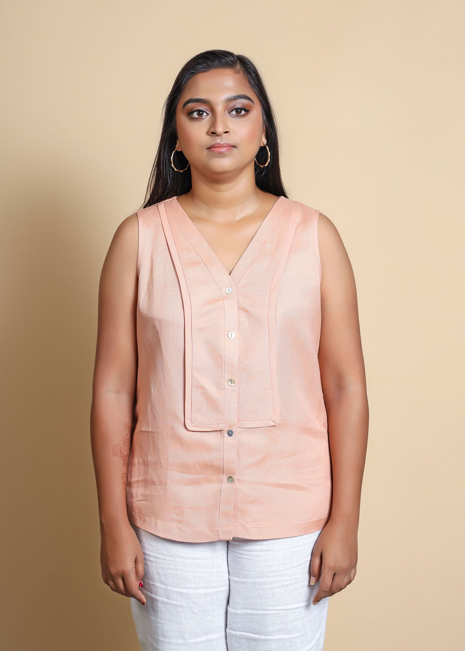 Sleeveless Top With Elongated Yoke