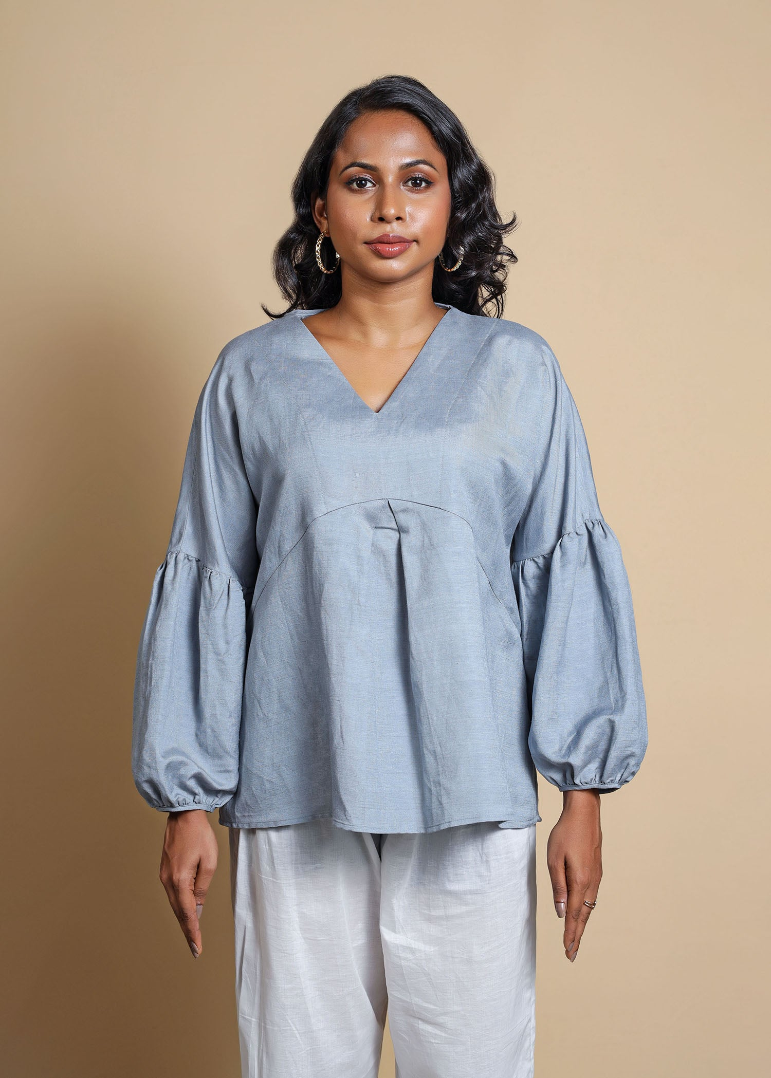 Drop Shoulder Puff Sleeve Top With Front Box Pleats