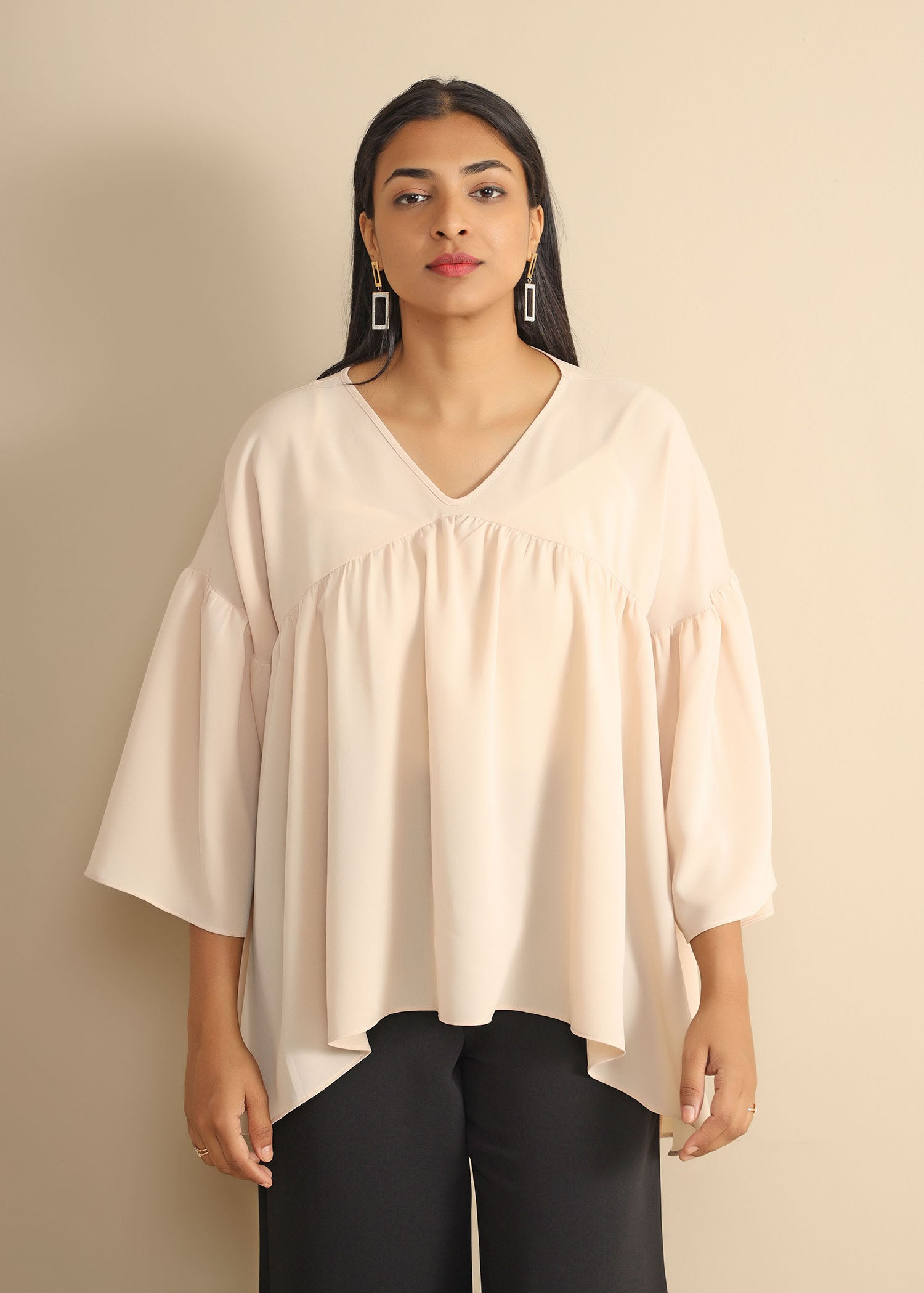 Front Gathering Detailed Top With Gathered Sleeve