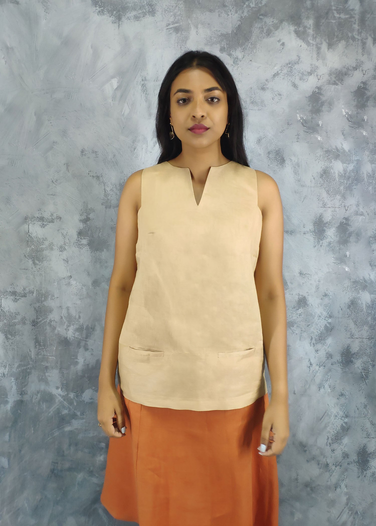 Straight Cut Sleeveless Top With V-Neck Detail