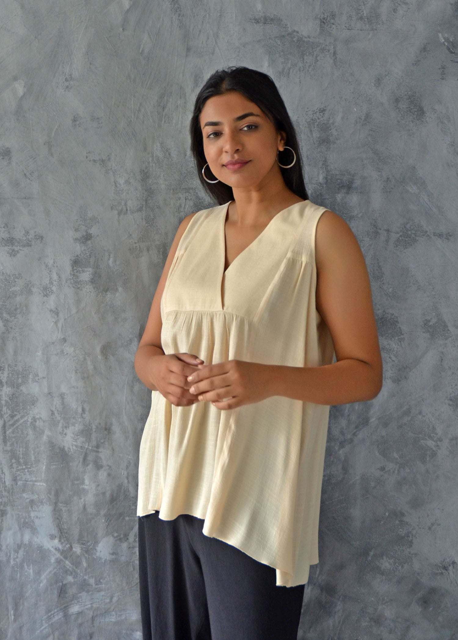 Sleeveless Yoke Top