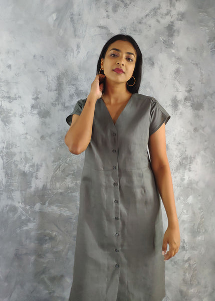 Front button placket detail dress