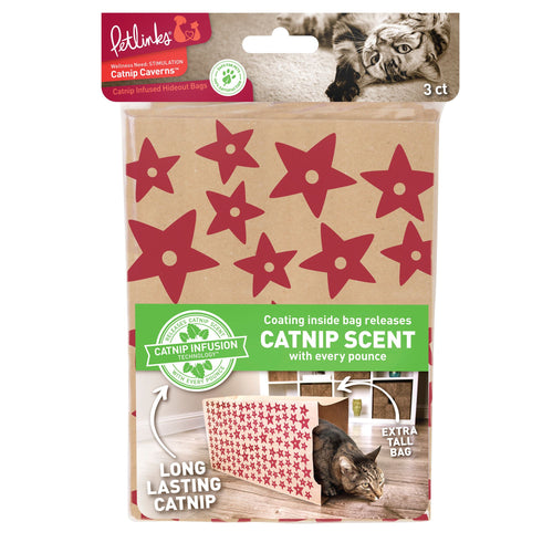 Petlinks Catnip Caverns Hideout Bags Cat Toys, 3 count
