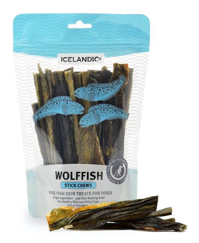 Icelandic+ Wolffish Stick Chews Fish Dog Treat 4-oz Bag