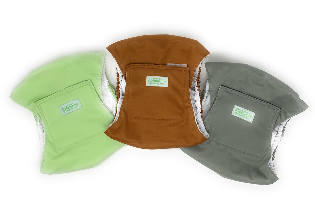 Male Diaper Wraps for Dogs and Cats (3 pack) Solid Color