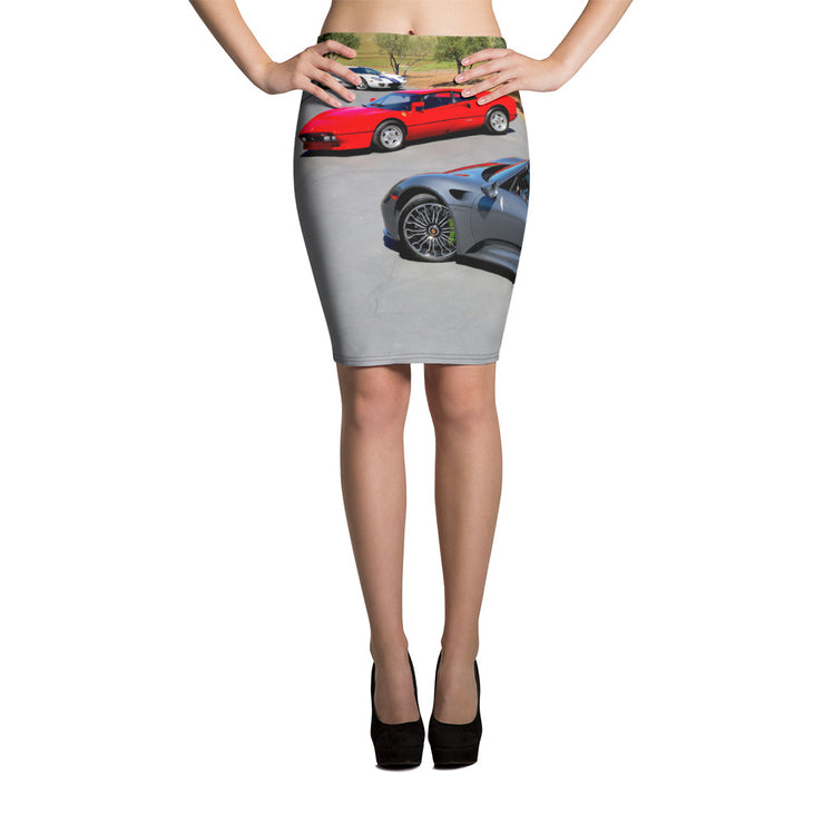 Modern Supercars Pencil Skirt