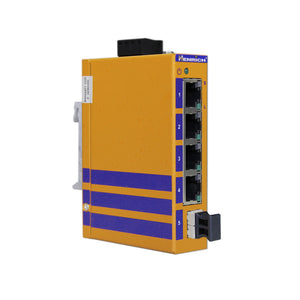 HES5B-LC-VLW -  DIN-Rail Unmanaged, 4 x  100Mbps Copper Port, 1 x Fiber Port, Multi Mode 2KM, LC Interface, Wide Temperature