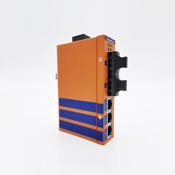 HES5A-2SST-VL -  DIN-Rail Unmanaged, 3 x  100Mbps Copper Port, 2 x Fiber Port,  Single Mode 20KM, ST Interface