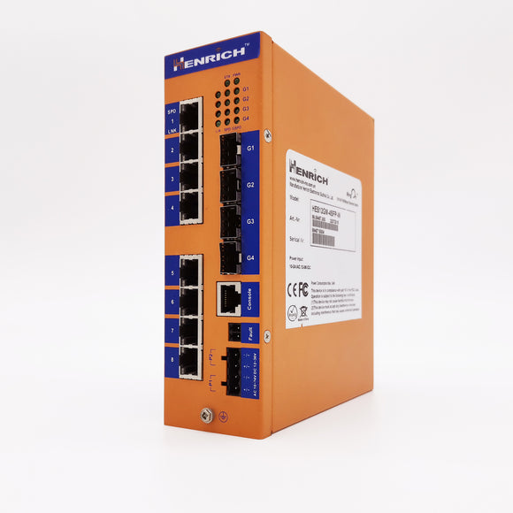 HES12GM-4SFP-VLW-Din-rail Managed, 8 Gigabit Copper Port, 4 Gigabit SFP fiber ports,  Industrial Temperature -14°C to +85°C, Power Input 12~52VDC