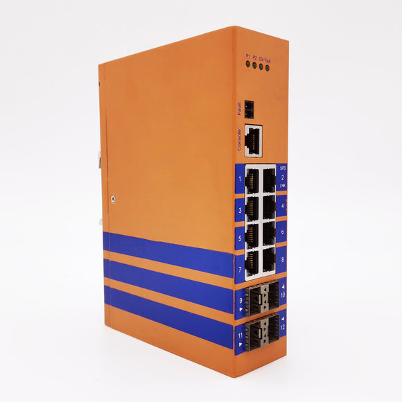 HES12GM-8E-4SFP-VLW-Din-rail Managed,8 x  1000Mbps POE Copper Port,4 x  1000Mbps SFP Fiber Port,Industrial Temperature :-40~85 °C,Power Input 44~57VDC