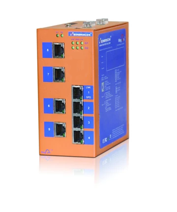 HES10-2G-2ST-VLW -  DIN-Rail Unmanaged, 6 x  100Mbps Copper Port, 2 x Gigabit Copper/Fiber Port, 2 x 100Mbps Fiber Port, Multi Mode Dual Fiber 2KM,  ST Interface, Industrial Temperature  : -40~75 °C, Power Supply  12~36VDC or 10~24VAC