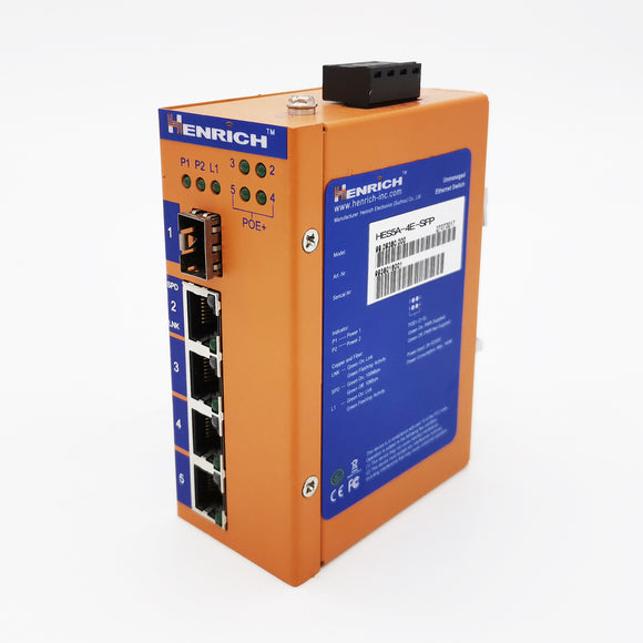 HES5A-4E-SFP-VLW - DIN-Rail Unmanaged, 4 x  100Mbps POE Copper Port, 1 x  100Mbps SFP Fiber Port, Wide Temperature