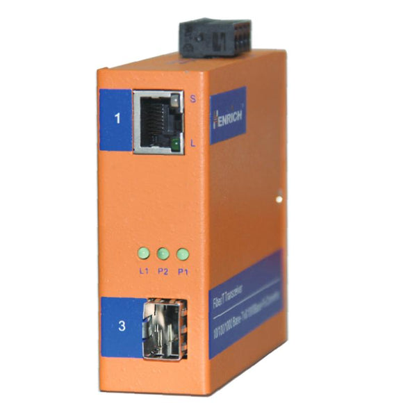 HEMC2G-SC-VLW - Ethernet Media Converters, 1 x Gigabit Copper Port, 1 x Gigabit Multi-Mode Fiber Port with SC Connector, 2KM, Industrial Wide Temperature-40°C to +75°C, Power Input 12~36VDC or 10~24VAC