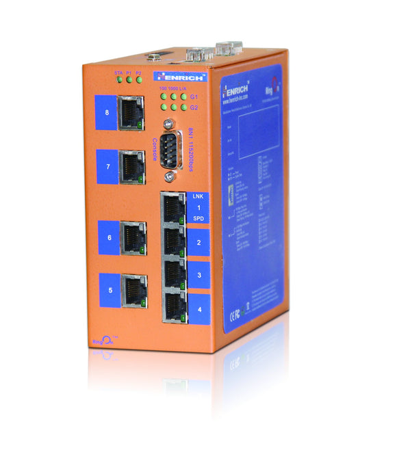 HES10M-2G-2SC-VL - Din-rail Managed, 6 x 100Mbps Copper Port, 2 x 100Mbps Fiber Port, 2 x Gigabit combo port, 2KM, Multi Mode Dual Fiber, SC Interface