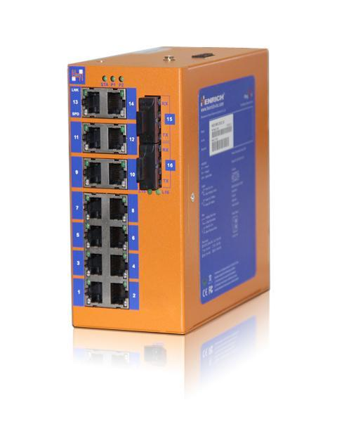 HES16-2SST-VLW - DIN-Rail Unmanaged, 14 x 100Mbps Copper Port, 2 x 100Mbps Fiber Port, 20KM, Single Mode Dual Fiber, ST Interface, Wide Temperature