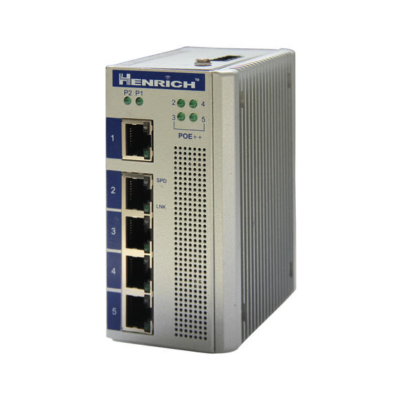 HES5A-4E60-VLW -  DIN-Rail Unmanaged, 1 x 100Mbps Copper Port, 4 x PoE++ 100Mbps Copper Port, Wide Temperature