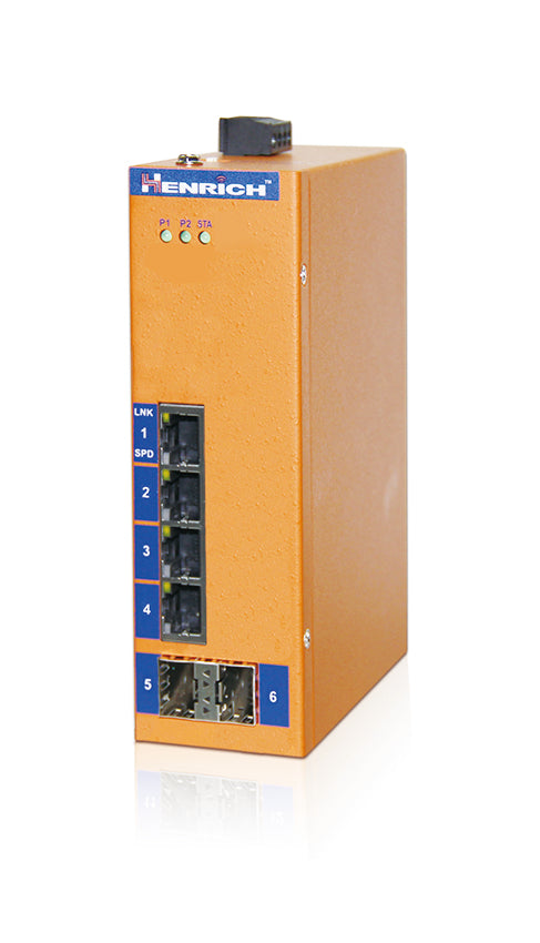 HES6G-2SFP-VLW -  DIN-Rail Unmanaged, 4 x 1000Mbps Copper Port, 2 x 1000Mbps SFP Fiber Slot, Wide Temperature
