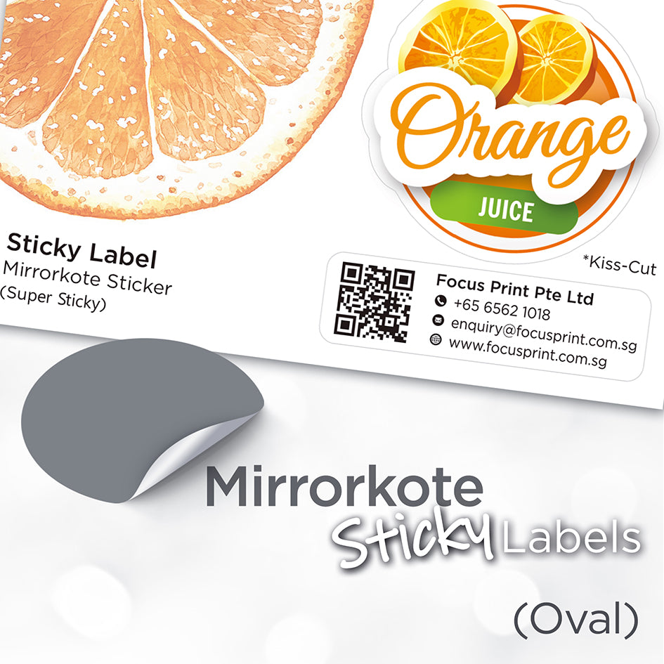 Mirrorkote (Oval) Paper Sticker - Focus Print Pte Ltd