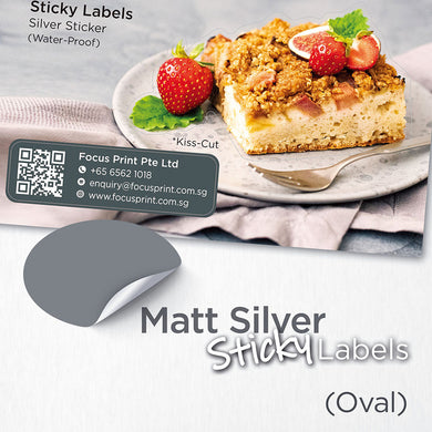 Matt Silver Sticker (Oval) Water-Proof - Focus Print Pte Ltd