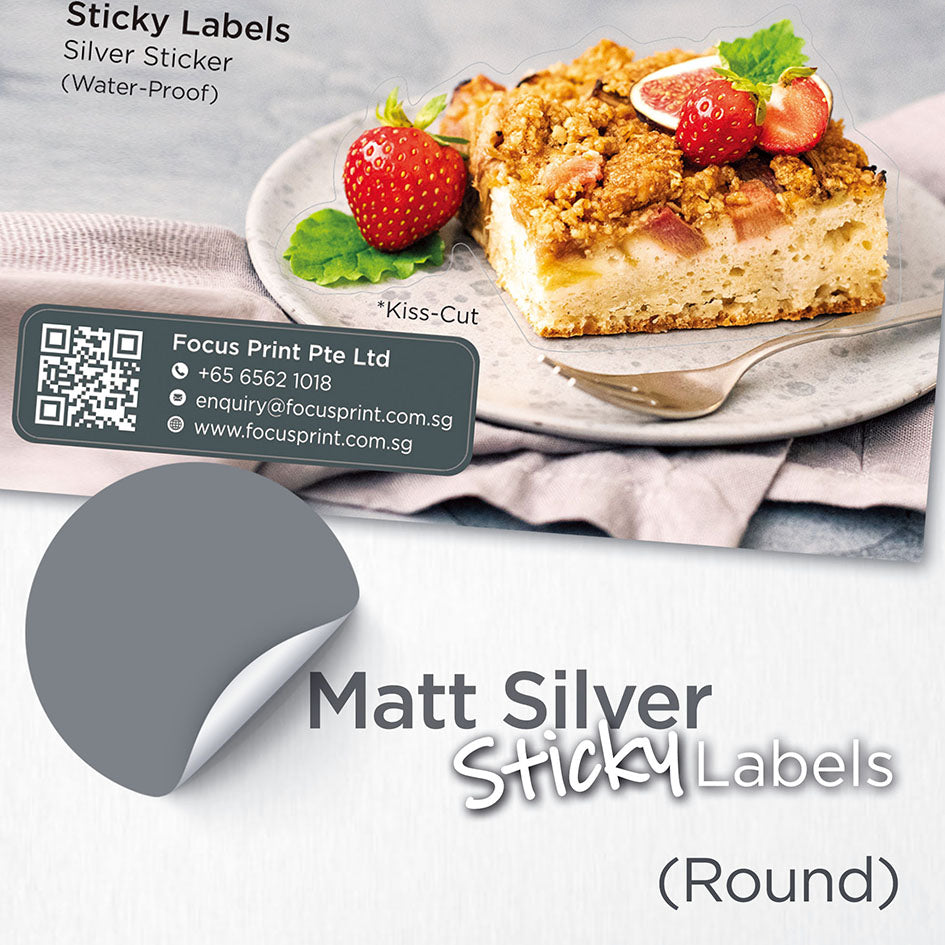 Matt Silver Sticker (Round) Water-Proof - Focus Print Pte Ltd