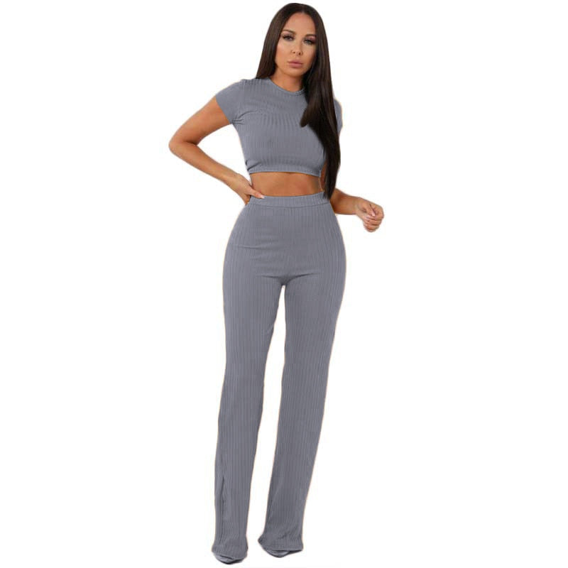 Two Piece Knitted O-neck crop top wide leg pant sets