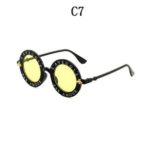 Retro English Letters Little Bee Round Sunglasses