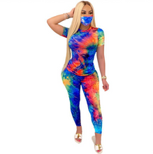 Load image into Gallery viewer, Tie-Dye Two Piece Women Set includes Mask