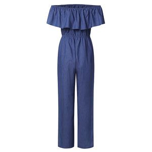Denim Rompers Womens Jumpsuit Off Shoulder