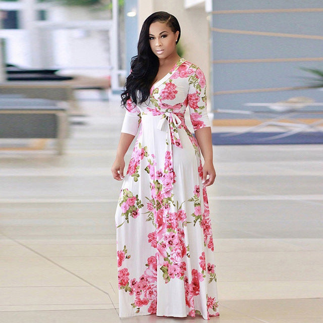 V Neck Half Sleeve Floral Long Dress