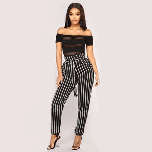 Striped High Waist Pants
