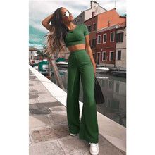 Load image into Gallery viewer, Two Piece Knitted O-neck crop top wide leg pant sets