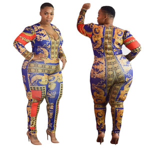 Colourful Printed Puls Size Jumpsuit