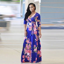 Load image into Gallery viewer, V Neck Half Sleeve Floral Long Dress