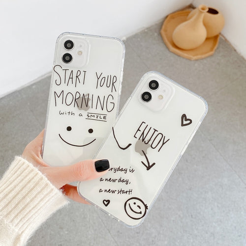 Fashion Cartoon Letter Smiley Face Shockproof Soft TPU Phone Case
