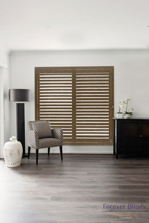 Black Walnut - Timber Stained Plantation Shutters