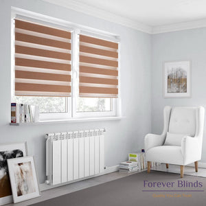 Combi Coffee Brown Zebra Blinds